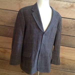 Men Wool Ludlow Brown Herringbone 3 Button Blazer